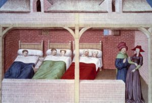 "A dormitory. Miniature from a manuscript in French of the ""Decameron"" by Giovanni Boccaccio (1313-1375), Italian writer, illuminated by the Master of Mansel. 1450 . Arsenal Library, Paris, France (Photo by Leemage/Corbis via Getty Images)"